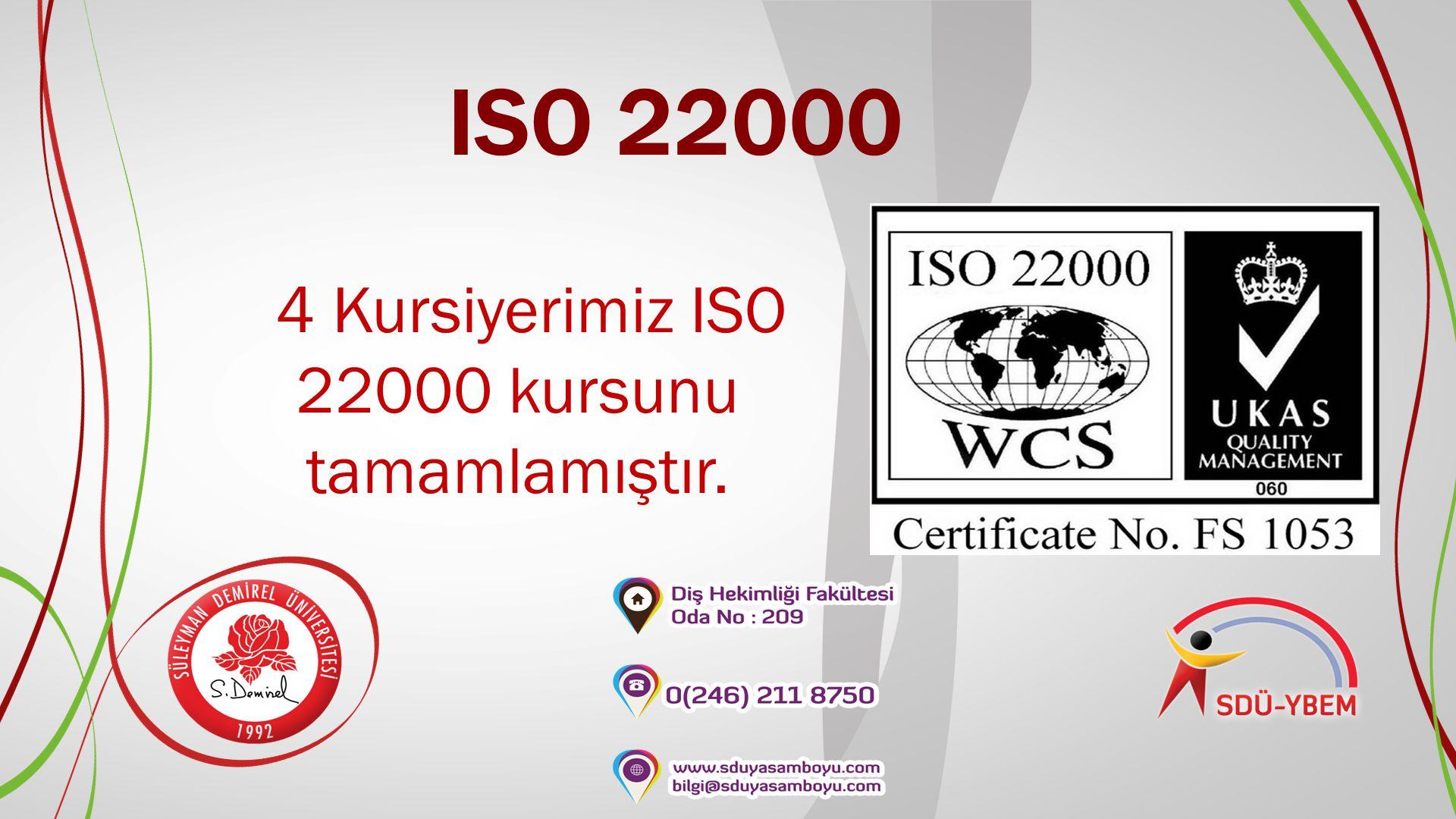 4 Kursiyerimiz ISO 22000 kursunu tamamlamıştır.