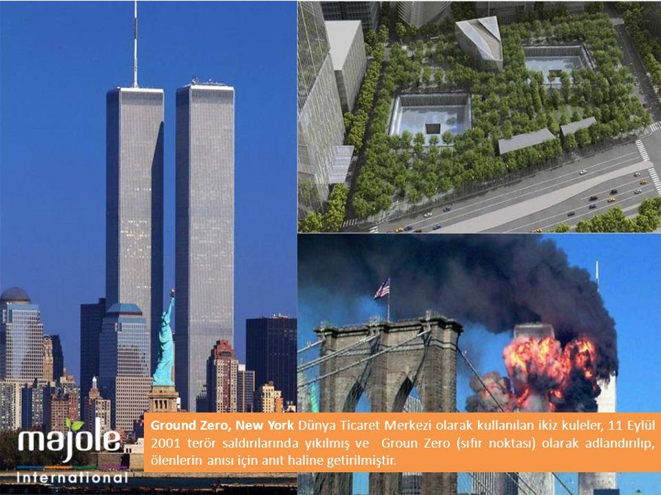Ground Zero, New York Dünya Ticaret Merkezi olarak kullanılan ikiz kuleler, 11 Eylül 2001 terör saldırılarında yıkılmış ve Groun Zero (sıfır noktası) olarak adlandırılıp, ölenlerin anısı için anıt haline getirilmiştir.