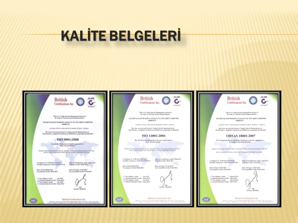 KALİTE BELGELERİ