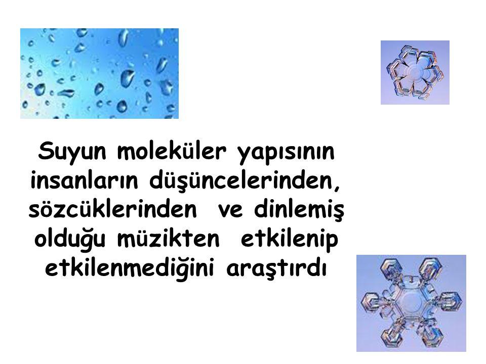 Suyun moleküler yapısının insanların düşüncelerinden, sözcüklerinden ve dinlemiş olduğu müzikten etkilenip etkilenmediğini araştırdı