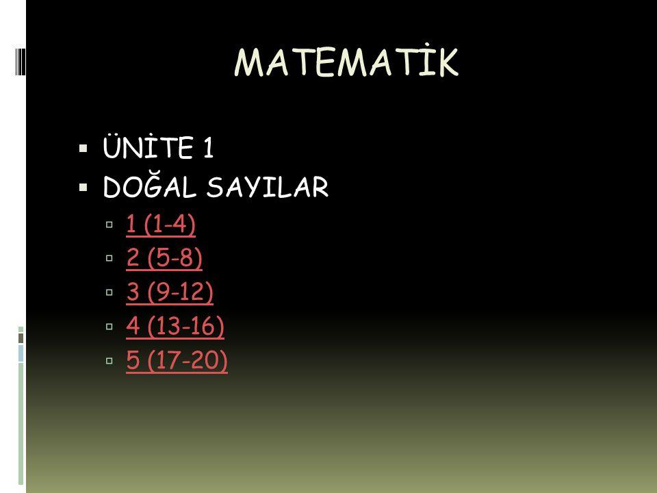 MATEMATİK ÜNİTE 1 DOĞAL SAYILAR 1 (1-4) 2 (5-8) 3 (9-12) 4 (13-16)
