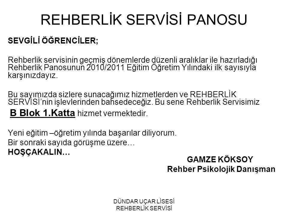 REHBERLİK SERVİSİ PANOSU
