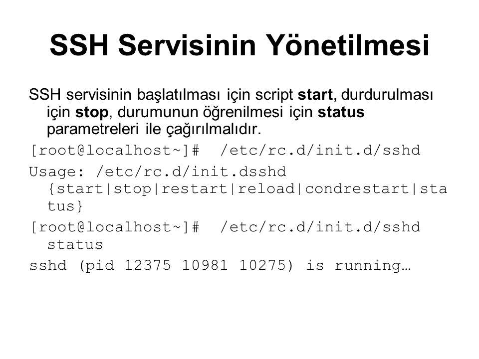 SSH Servisinin Yönetilmesi