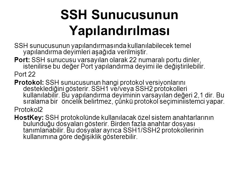 SSH Sunucusunun Yapılandırılması