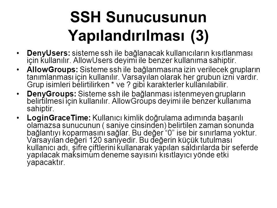 SSH Sunucusunun Yapılandırılması (3)