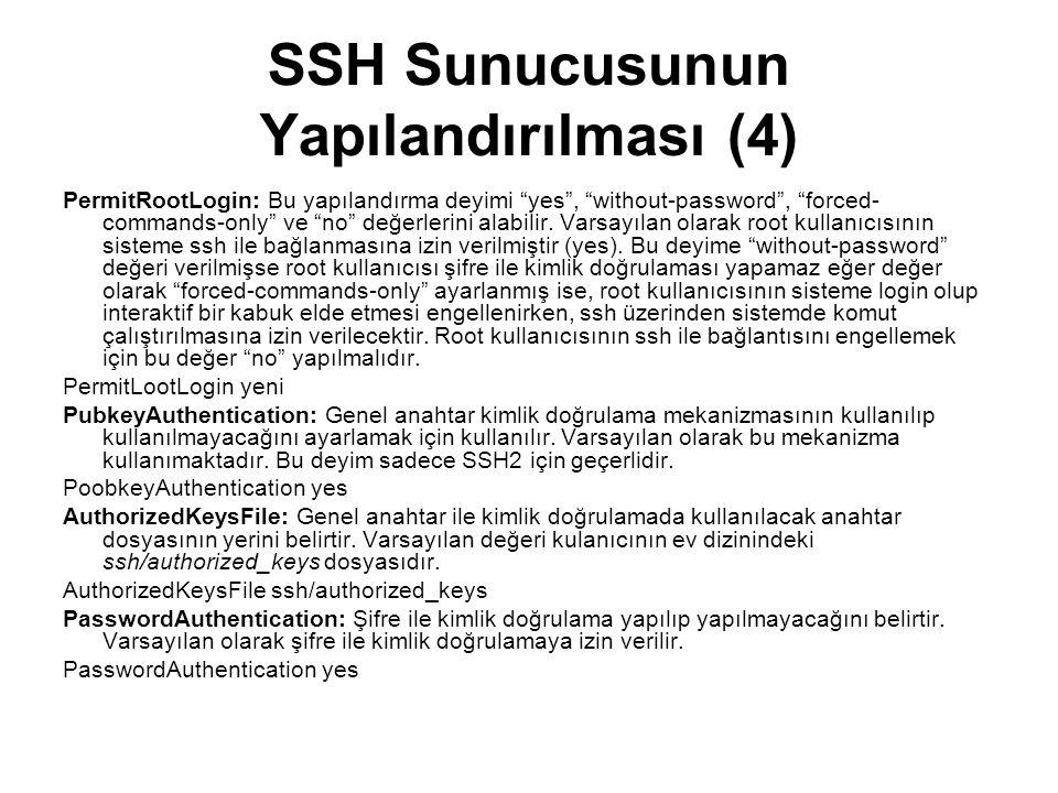 SSH Sunucusunun Yapılandırılması (4)