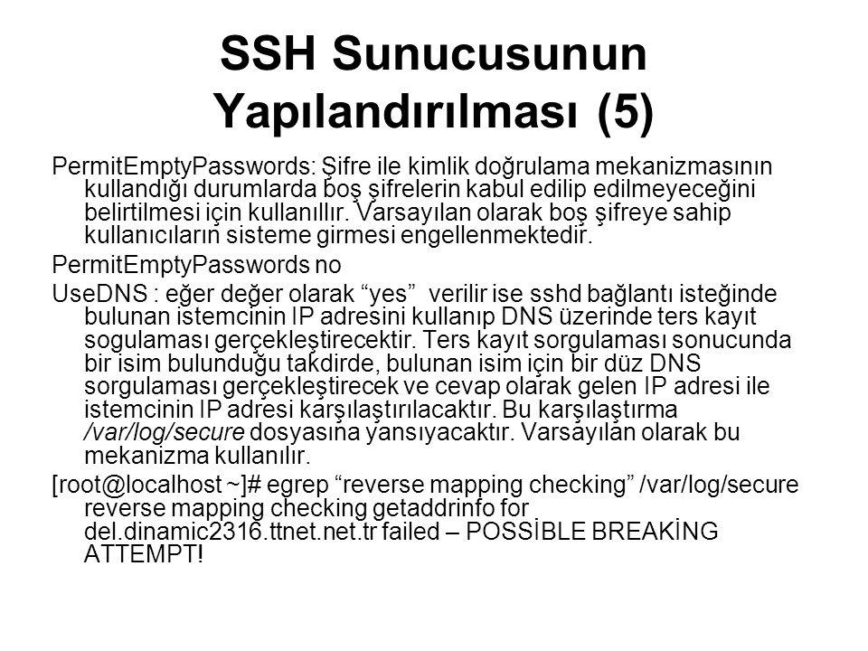 SSH Sunucusunun Yapılandırılması (5)