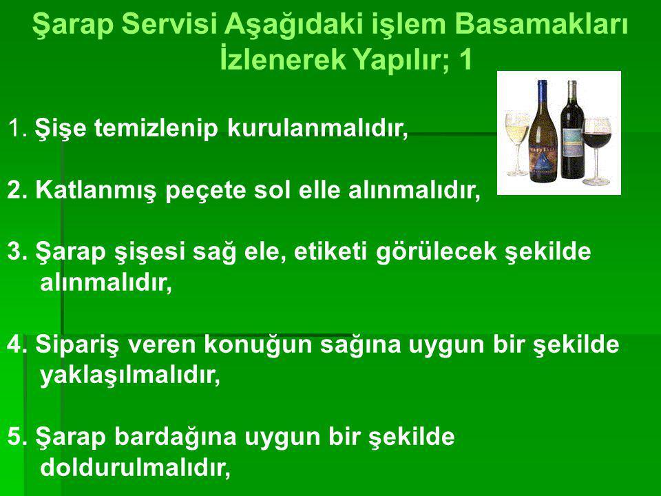 Şarap Servisi Aşağıdaki işlem Basamakları İzlenerek Yapılır; 1
