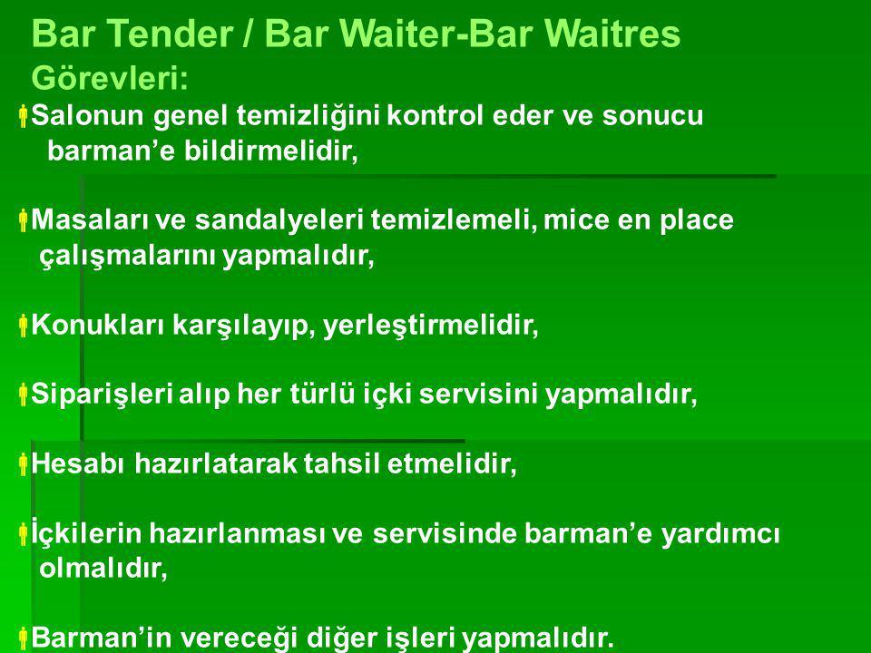 Bar Tender / Bar Waiter-Bar Waitres