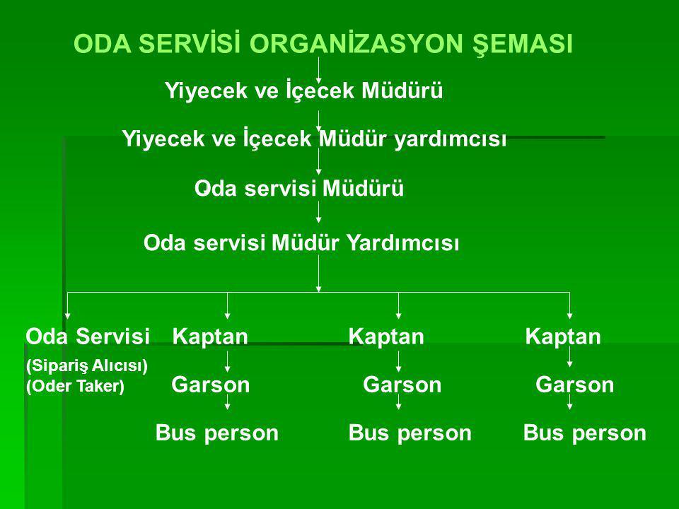 ODA SERVİSİ ORGANİZASYON ŞEMASI