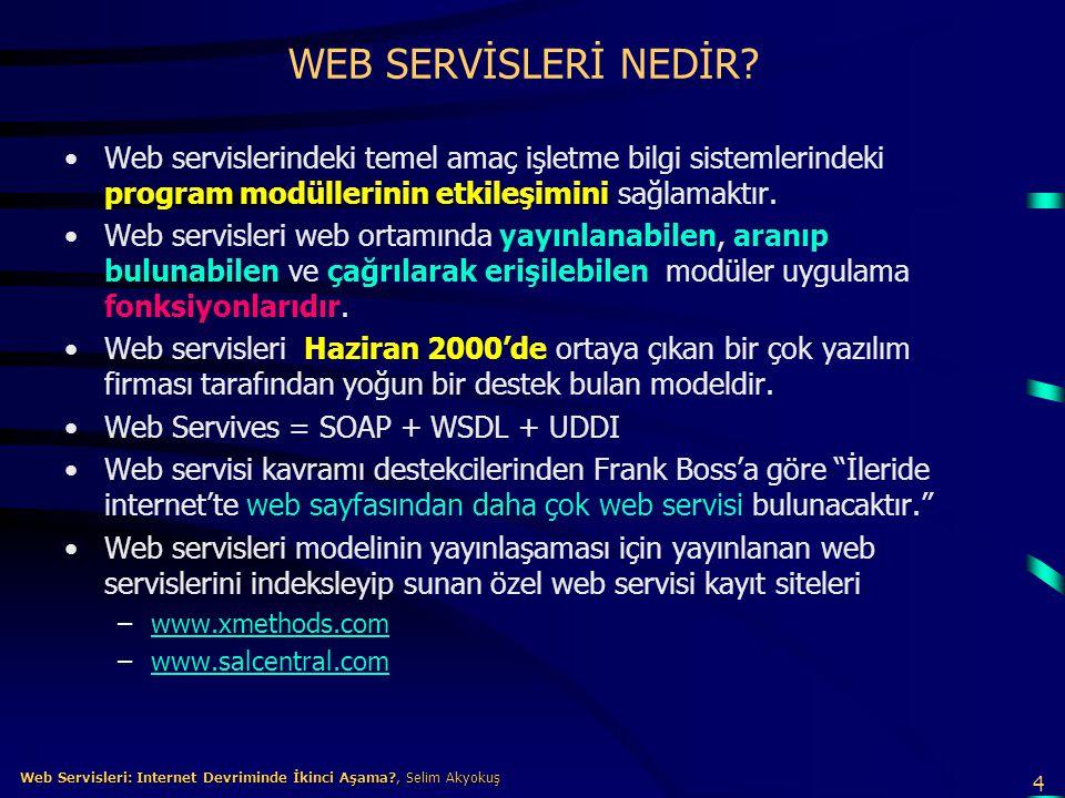 WEB SERVİSLERİ NEDİR Web servislerindeki temel amaç işletme bilgi sistemlerindeki program modüllerinin etkileşimini sağlamaktır.