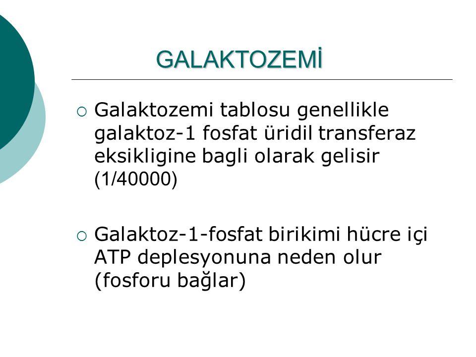 GALAKTOZEMİ Galaktozemi tablosu genellikle galaktoz-1 fosfat üridil transferaz eksikligine bagli olarak gelisir (1/40000)