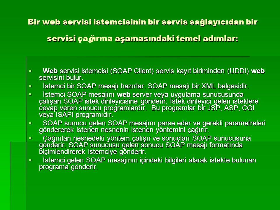Bir web servisi istemcisinin bir servis sağlayıcıdan bir servisi çağırma aşamasındaki temel adımlar: