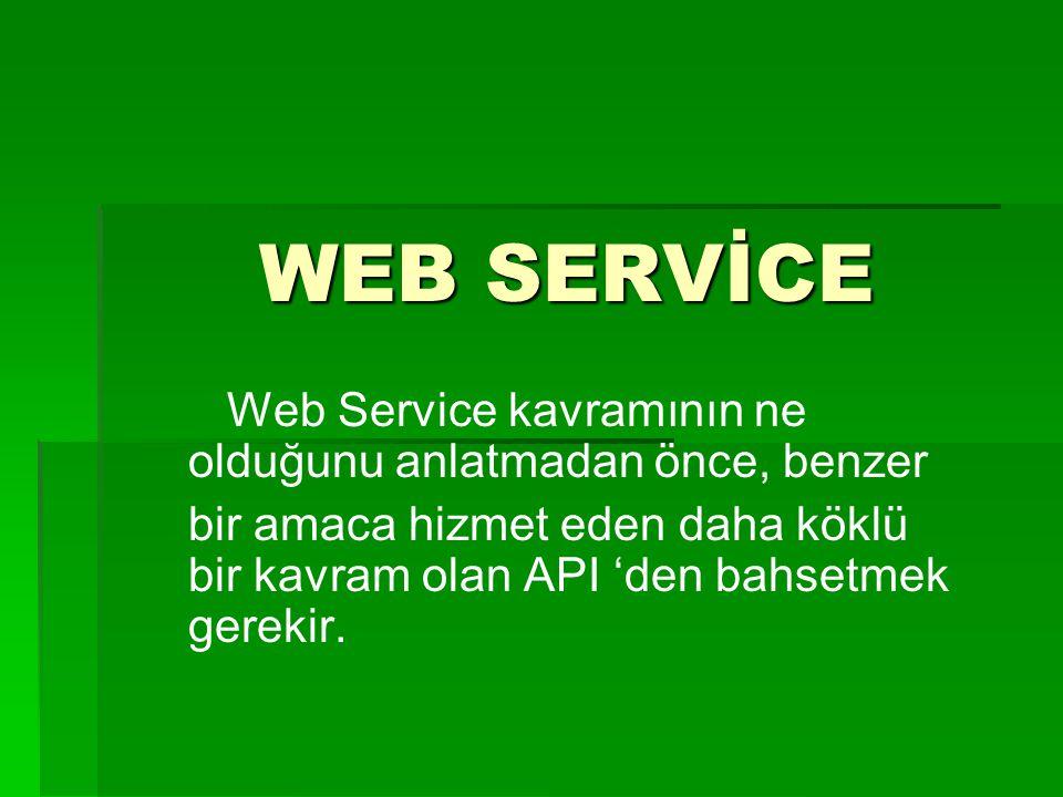 WEB SERVİCE Web Service kavramının ne olduğunu anlatmadan önce, benzer