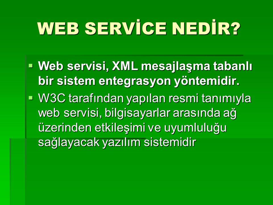 WEB SERVİCE NEDİR Web servisi, XML mesajlaşma tabanlı bir sistem entegrasyon yöntemidir.