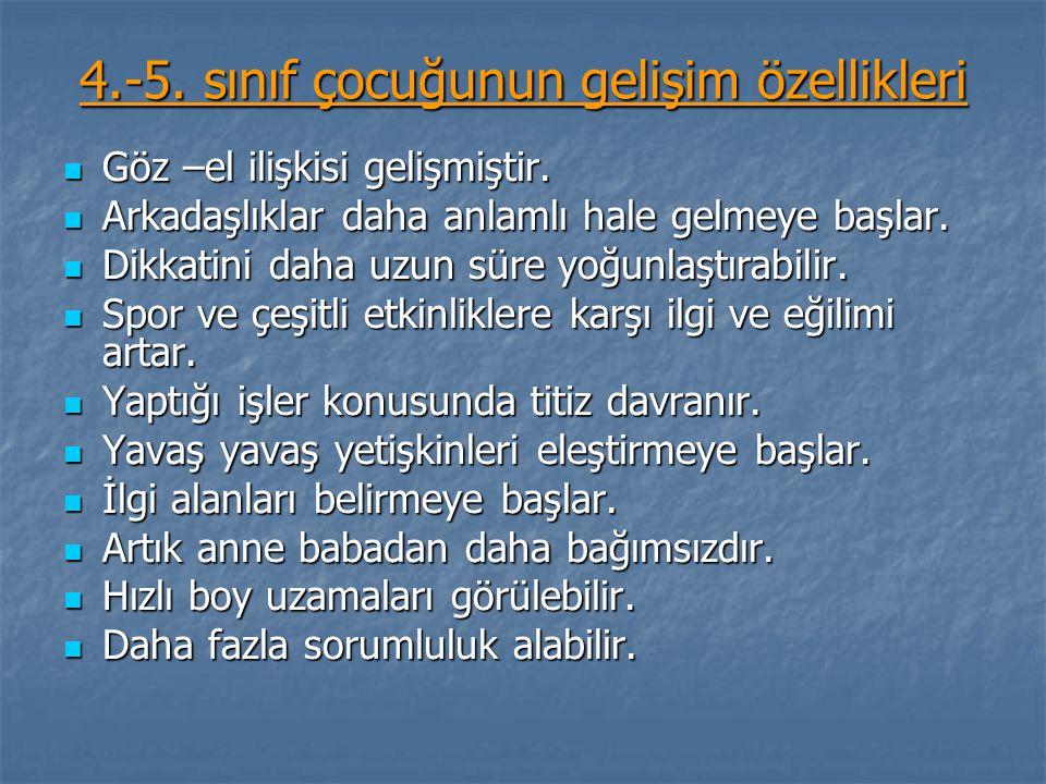 4.-5. sınıf çocuğunun gelişim özellikleri