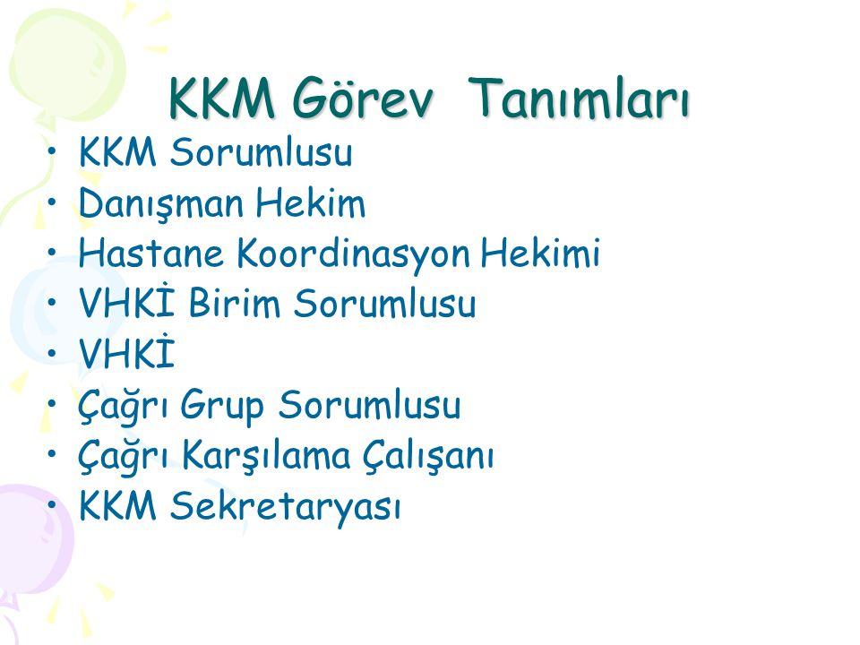 KKM Görev Tanımları KKM Sorumlusu Danışman Hekim