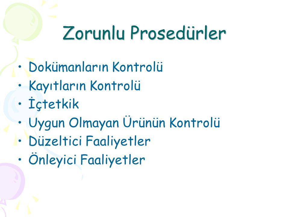 Zorunlu Prosedürler Dokümanların Kontrolü Kayıtların Kontrolü İçtetkik