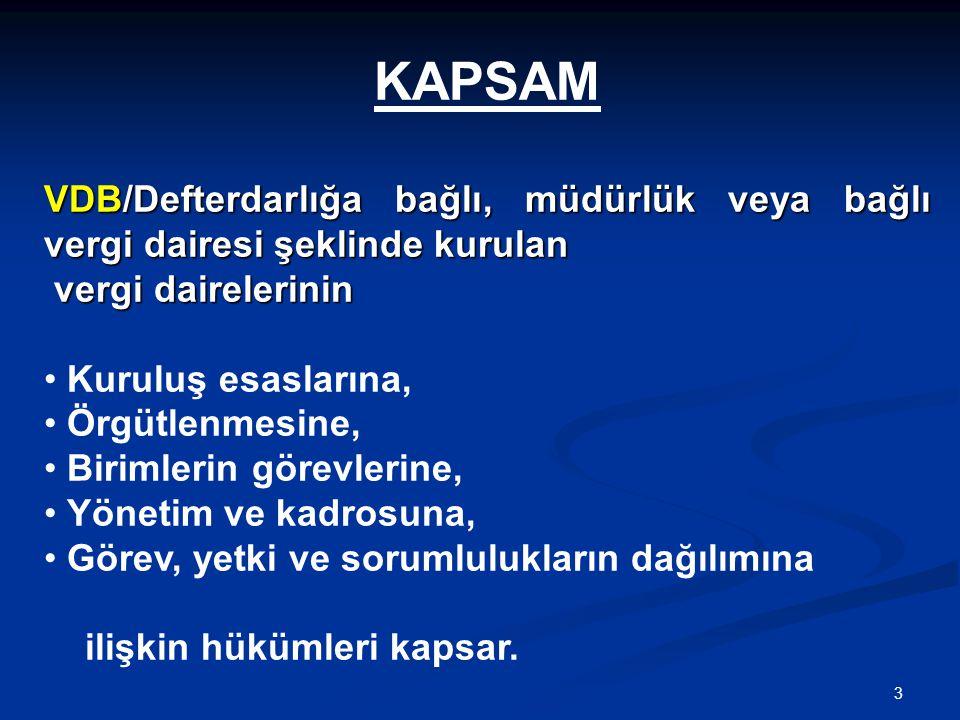 KAPSAM VDB/Defterdarlığa bağlı, müdürlük veya bağlı vergi dairesi şeklinde kurulan. vergi dairelerinin.