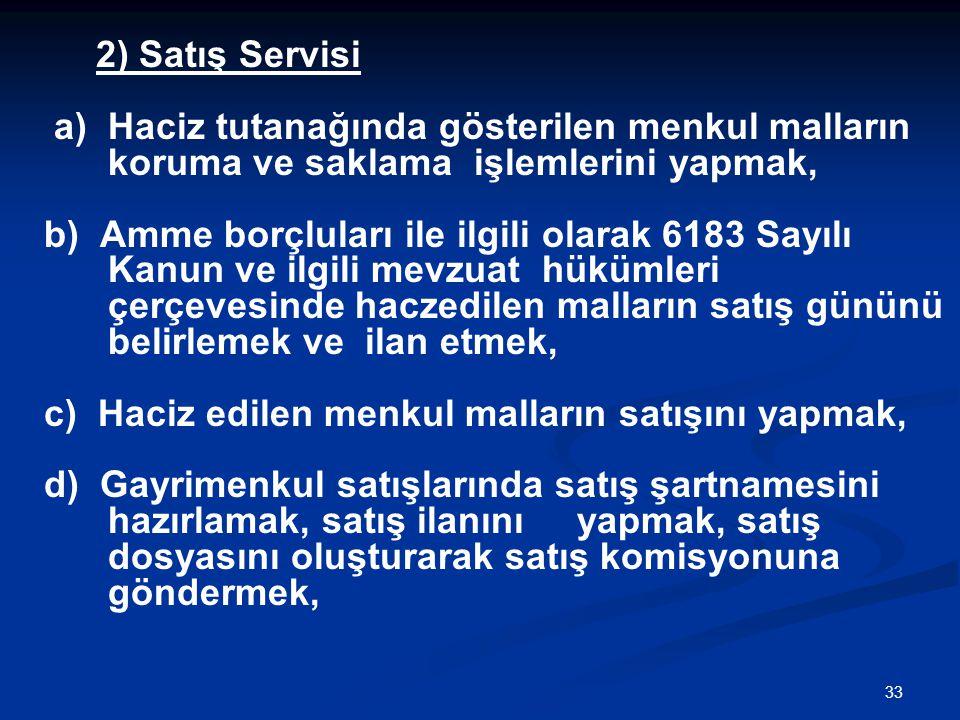 2) Satış Servisi a) Haciz tutanağında gösterilen menkul malların koruma ve saklama işlemlerini yapmak,