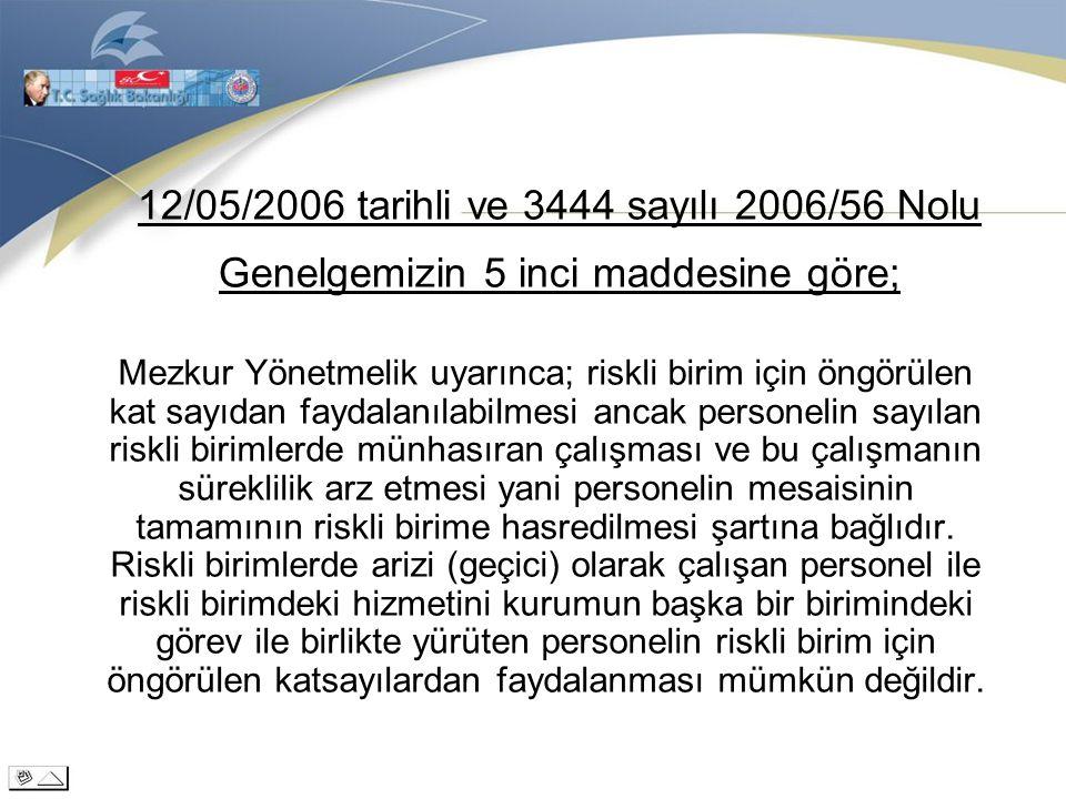 12/05/2006 tarihli ve 3444 sayılı 2006/56 Nolu Genelgemizin 5 inci maddesine göre;