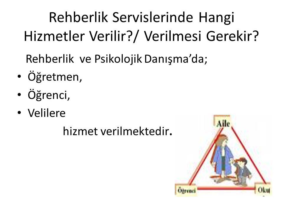 Rehberlik Servislerinde Hangi Hizmetler Verilir / Verilmesi Gerekir