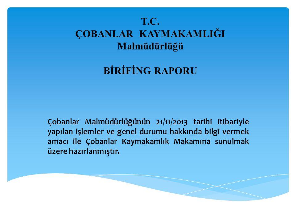 T.C. ÇOBANLAR KAYMAKAMLIĞI Malmüdürlüğü BİRİFİNG RAPORU