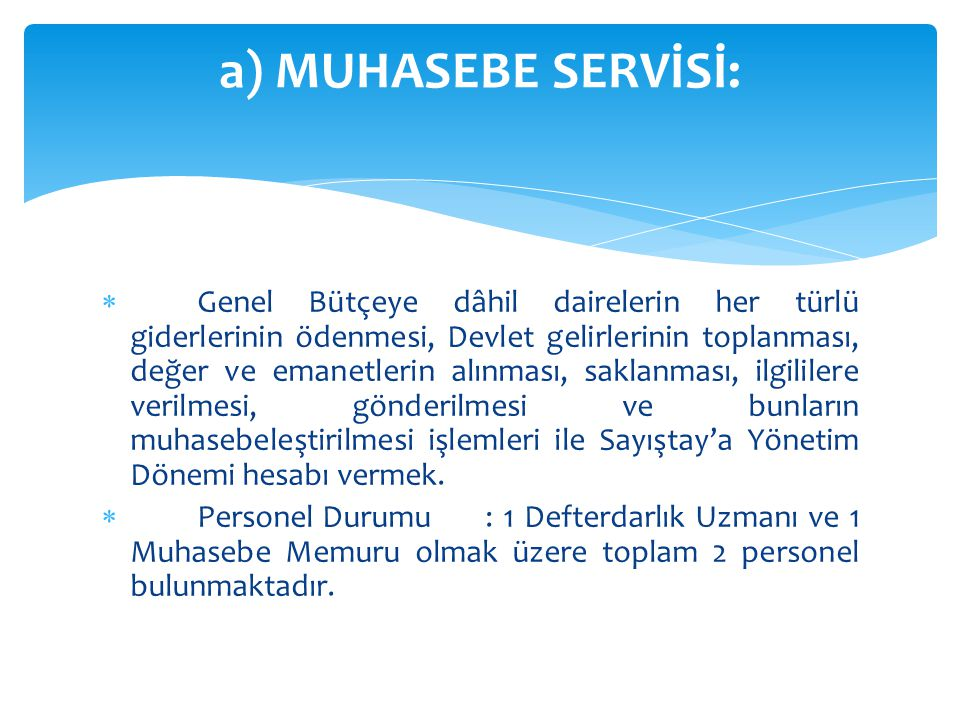 a) MUHASEBE SERVİSİ: