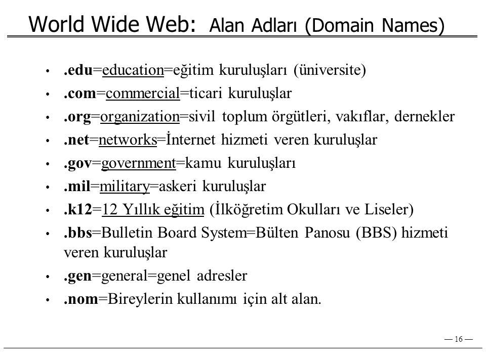 World Wide Web: Alan Adları (Domain Names)