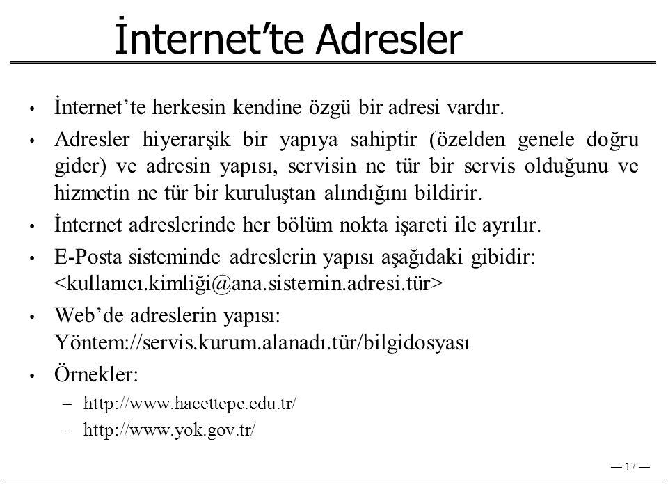 İnternet'te Adresler İnternet'te herkesin kendine özgü bir adresi vardır.