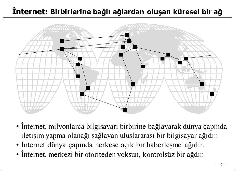 İnternet dünya çapında herkese açık bir haberleşme ağıdır.