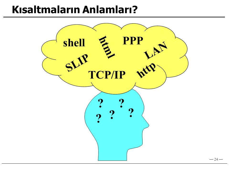 PPP shell html LAN SLIP http TCP/IP Kısaltmaların Anlamları
