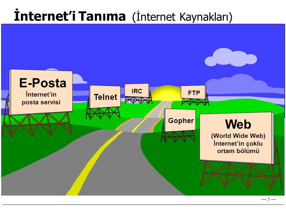 İnternet'in posta servisi İnternet'in çoklu ortam bölümü