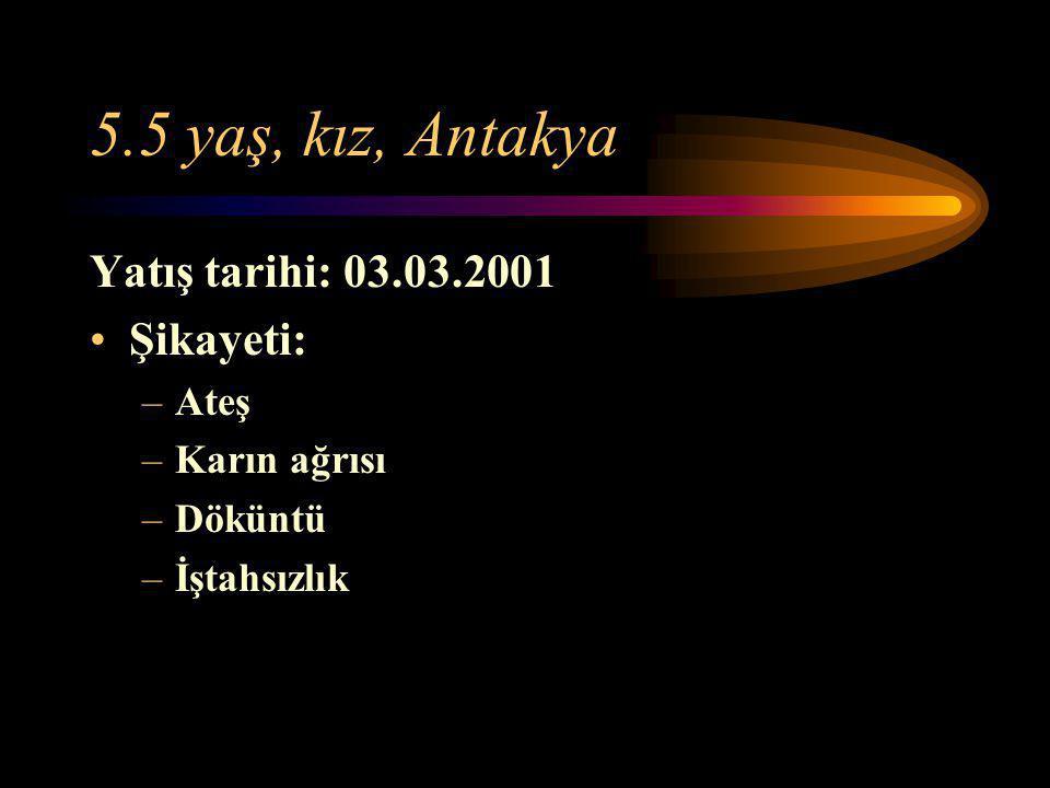 5.5 yaş, kız, Antakya Yatış tarihi: 03.03.2001 Şikayeti: Ateş