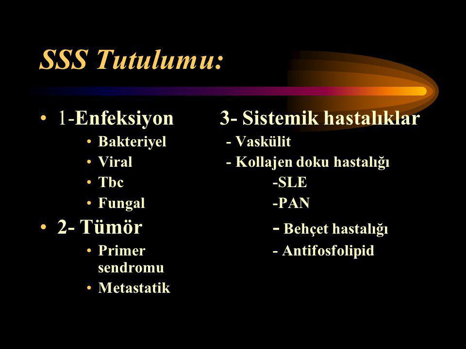 SSS Tutulumu: 1-Enfeksiyon 3- Sistemik hastalıklar