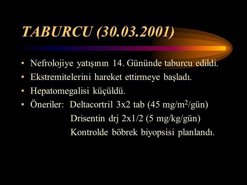 TABURCU (30.03.2001) Nefrolojiye yatışının 14. Gününde taburcu edildi.