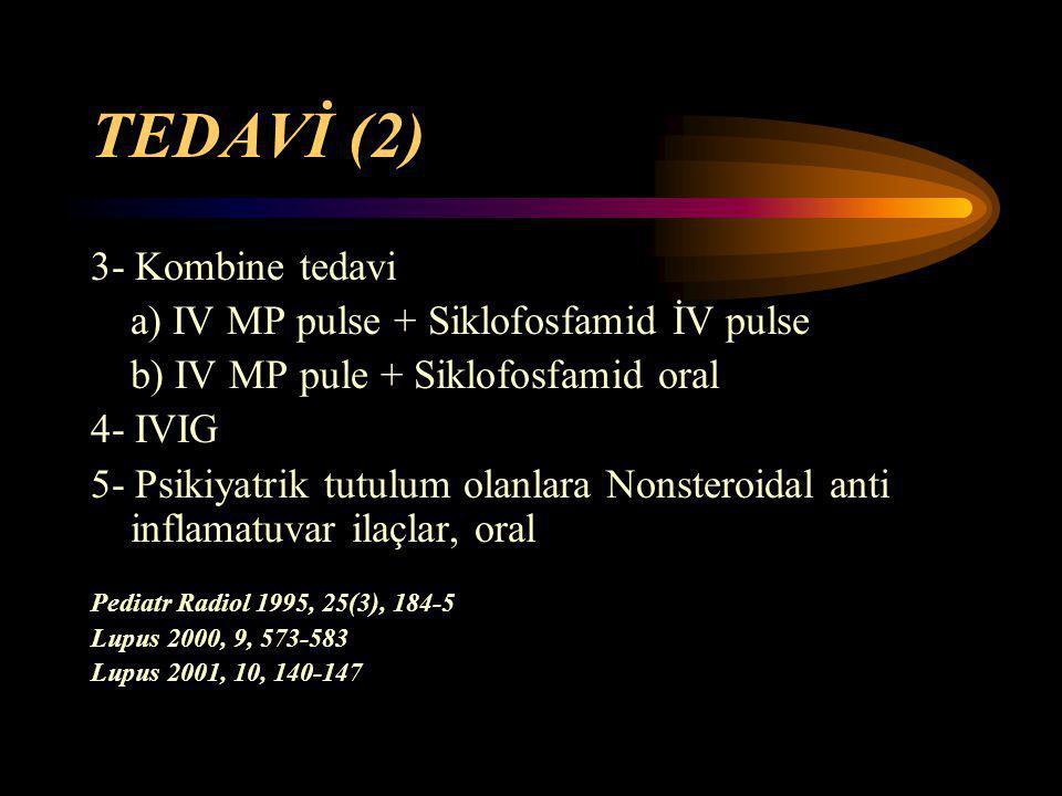 TEDAVİ (2) 3- Kombine tedavi a) IV MP pulse + Siklofosfamid İV pulse