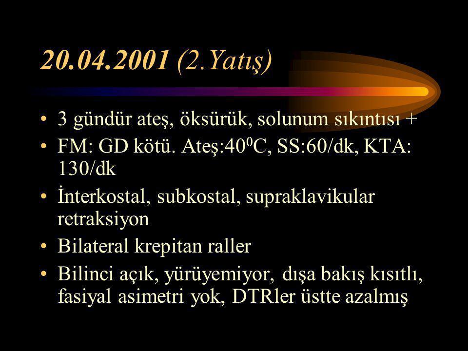 20.04.2001 (2.Yatış) 3 gündür ateş, öksürük, solunum sıkıntısı +