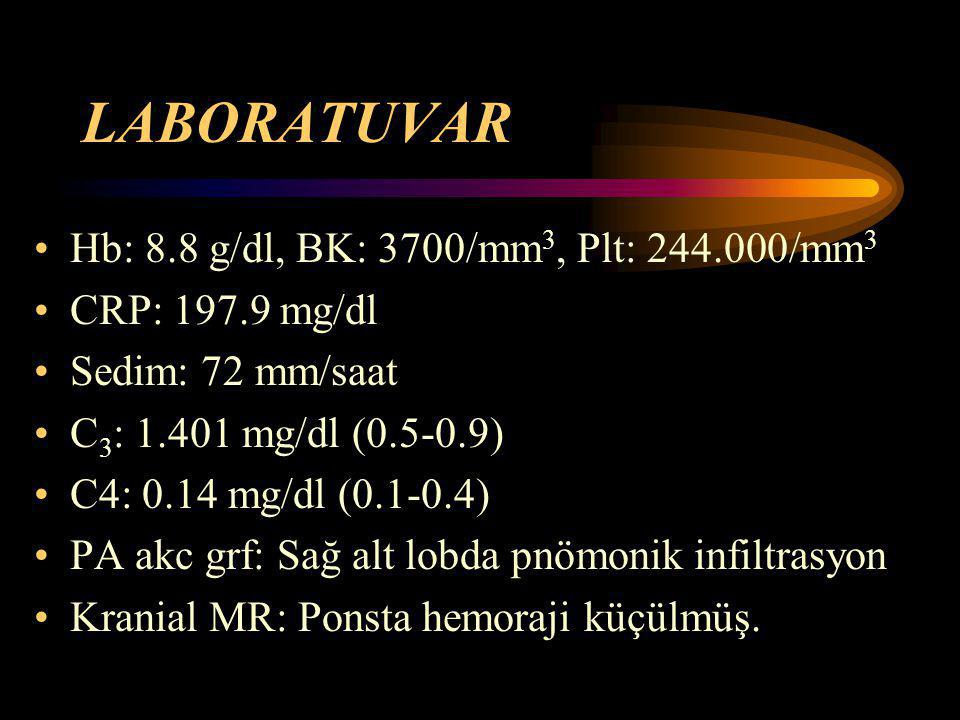 LABORATUVAR Hb: 8.8 g/dl, BK: 3700/mm3, Plt: /mm3