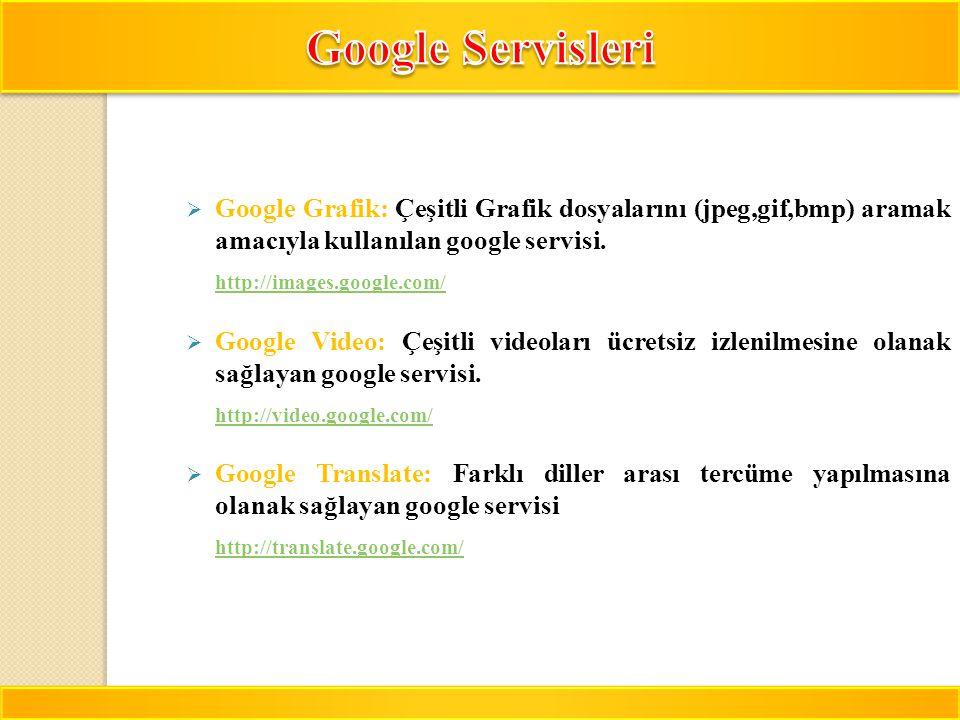 Google Servisleri Google Grafik: Çeşitli Grafik dosyalarını (jpeg,gif,bmp) aramak amacıyla kullanılan google servisi.