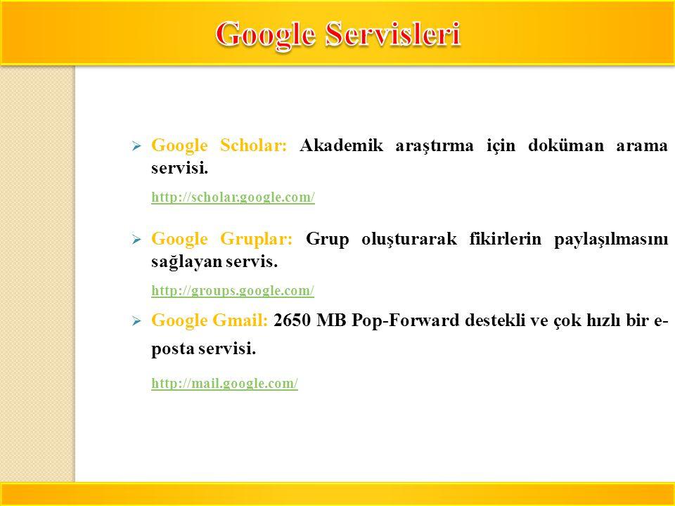 Google Servisleri Google Scholar: Akademik araştırma için doküman arama servisi. http://scholar.google.com/