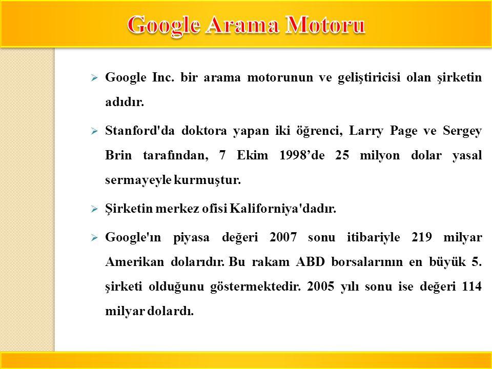 Google Arama Motoru Google Inc. bir arama motorunun ve geliştiricisi olan şirketin adıdır.
