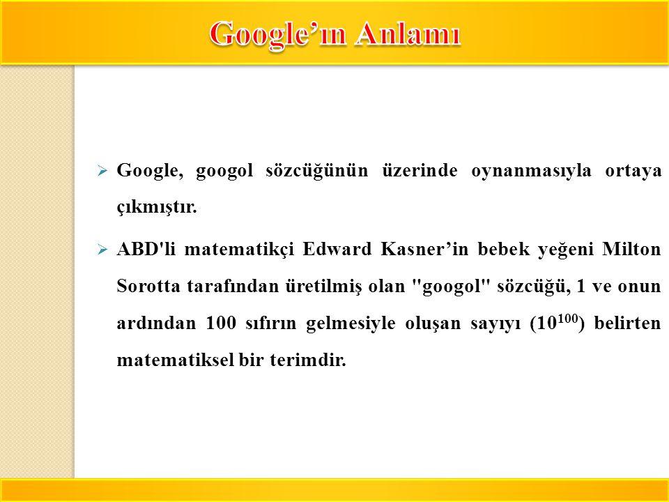 Google'ın Anlamı Google, googol sözcüğünün üzerinde oynanmasıyla ortaya çıkmıştır.