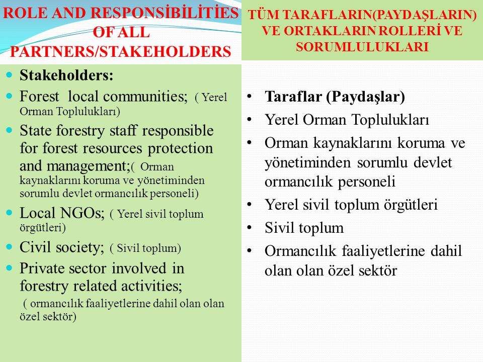 ROLE AND RESPONSİBİLİTİES OF ALL PARTNERS/STAKEHOLDERS