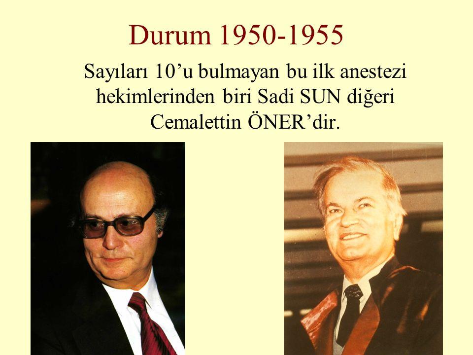 Durum 1950-1955 Sayıları 10'u bulmayan bu ilk anestezi hekimlerinden biri Sadi SUN diğeri Cemalettin ÖNER'dir.