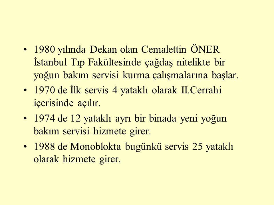 1980 yılında Dekan olan Cemalettin ÖNER İstanbul Tıp Fakültesinde çağdaş nitelikte bir yoğun bakım servisi kurma çalışmalarına başlar.