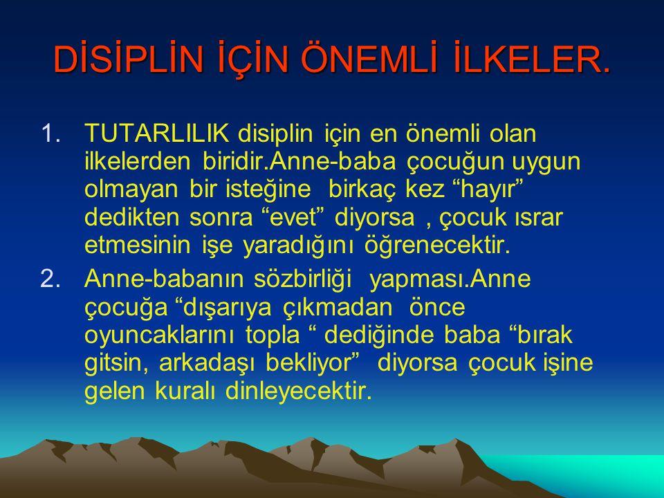 DİSİPLİN İÇİN ÖNEMLİ İLKELER.