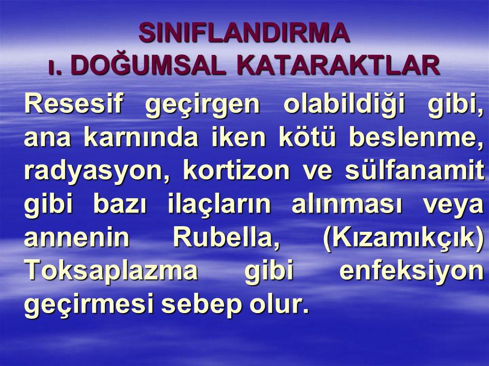 SINIFLANDIRMA ı. DOĞUMSAL KATARAKTLAR