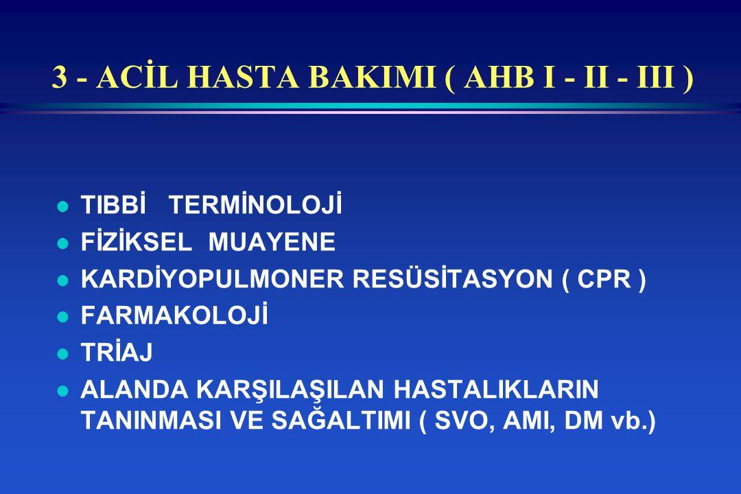3 - ACİL HASTA BAKIMI ( AHB I - II - III )