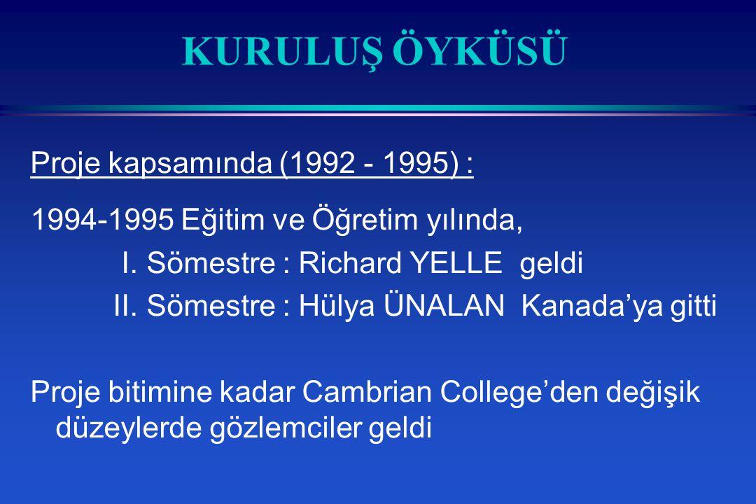 KURULUŞ ÖYKÜSÜ Proje kapsamında (1992 - 1995) :